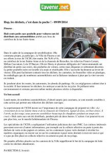 "Article presse ""L'avenir.net"""